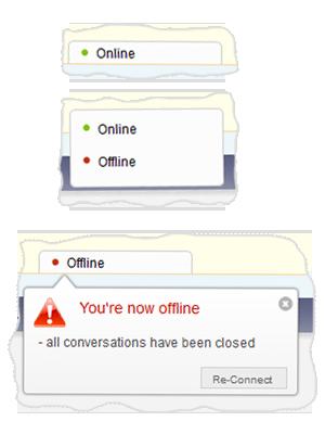 Connection status menu