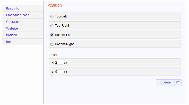 widget position panel