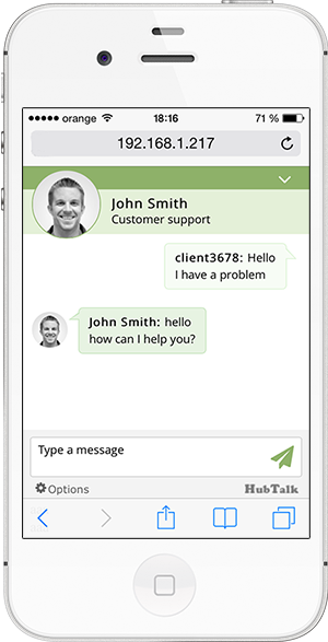 HubTalk live chat mobile