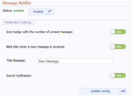 message notifier settings