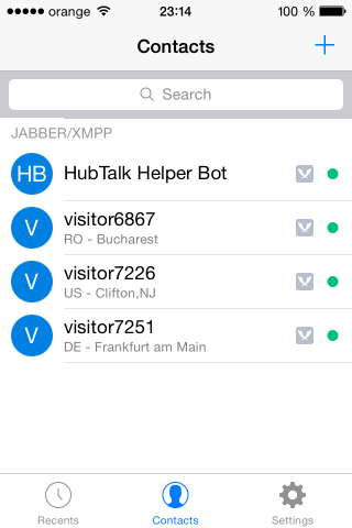 iphone hubtalk contacts