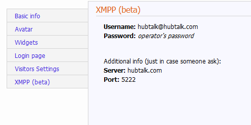 XMPP username and password